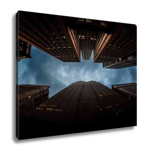 Gallery Wrapped Canvas, Bat Man Sign In City Skyline