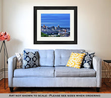 Load image into Gallery viewer, Framed Print, Cincinnati Ohio And Covington Kentucky Sit On Either Side Of The Ohio River