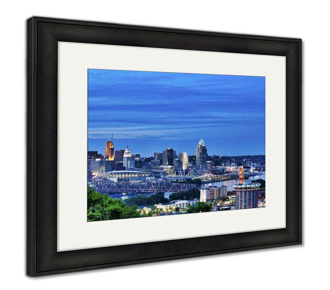 Framed Print, Cincinnati Ohio And Covington Kentucky Sit On Either Side Of The Ohio River