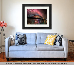 Framed Print, Sydney Harbour Bridge New Year Fireworks