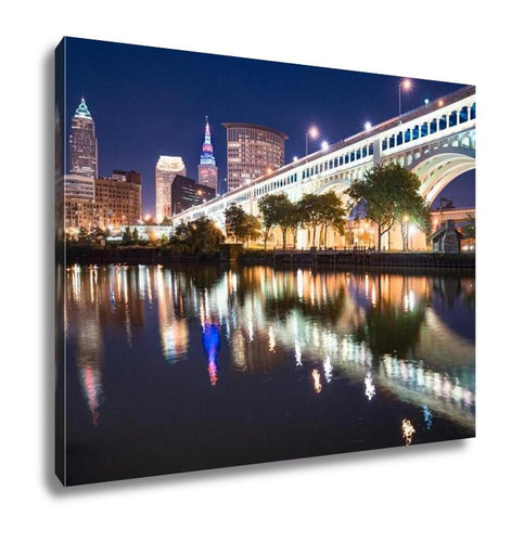 Gallery Wrapped Canvas, Cleveland City Skyline And Detriotsuperior Bridge At Night Across The Cuyahoga