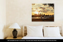 Load image into Gallery viewer, Gallery Wrapped Canvas, Sunrise Over Cleveland Sign And Skyline At Lake Erie Edgewater Park