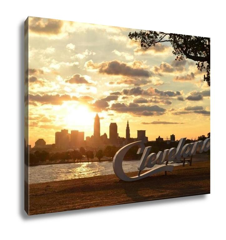 Gallery Wrapped Canvas, Sunrise Over Cleveland Sign And Skyline At Lake Erie Edgewater Park