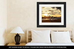 Framed Print, Sunrise Over Cleveland Sign And Skyline At Lake Erie Edgewater Park