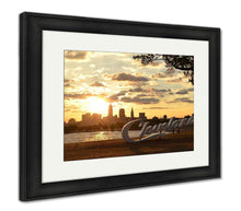 Load image into Gallery viewer, Framed Print, Sunrise Over Cleveland Sign And Skyline At Lake Erie Edgewater Park