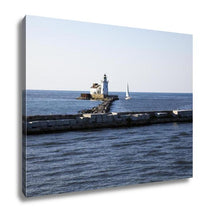 Load image into Gallery viewer, Gallery Wrapped Canvas, Yacht By Cleveland Harbor West Pierhead