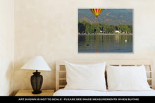 Load image into Gallery viewer, Gallery Wrapped Canvas, A Hot Air Balloon Floats Over Prospect Lake In Colorado Springs Colorado With