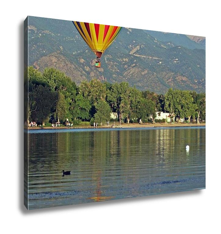 Gallery Wrapped Canvas, A Hot Air Balloon Floats Over Prospect Lake In Colorado Springs Colorado With