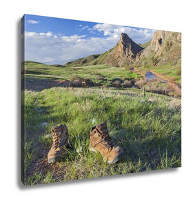 Gallery Wrapped Canvas, Hiking Boots On A Trail Eagle Nest Rock Open Space In Colorado At Springtime