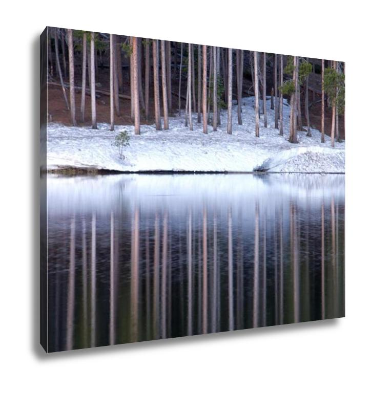 Gallery Wrapped Canvas, The Tall Pine Trees Reflect In The Mountain Lake On A Spring Colorado Morning