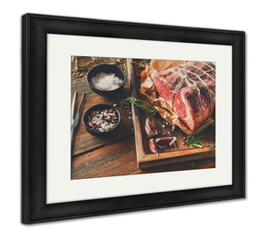 Framed Print, Raw Aged Prime Black Angus Beef In Craft Papper On Rustic Wood