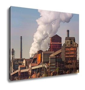 Gallery Wrapped Canvas, Working Detroit River Michigan Automotive Steel Mill