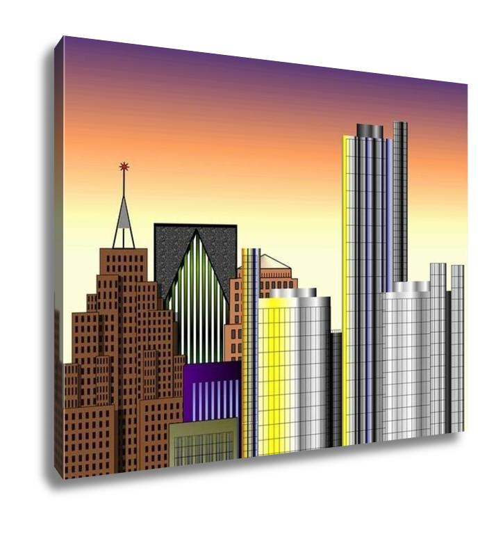 Gallery Wrapped Canvas, Detroit Downtown Illustration
