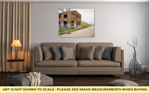 Gallery Wrapped Canvas, Abandoned Building Dilapidated Real Estate Detroit Michigan