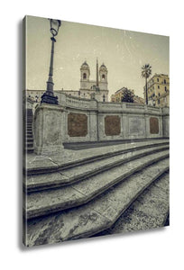 Gallery Wrapped Canvas, Old Photo In Vintage Style With Spanish Steps From Piazza Di Spa