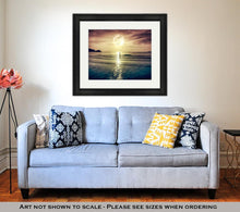 Load image into Gallery viewer, Framed Print, Super Moon Colorful Sky With Cloud And Bright Full Moon Over Sea