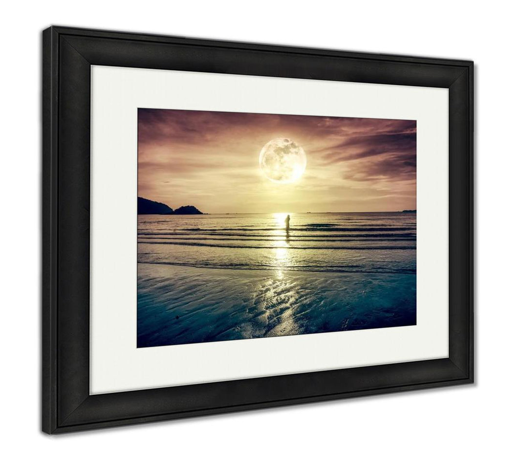 Framed Print, Super Moon Colorful Sky With Cloud And Bright Full Moon Over Sea
