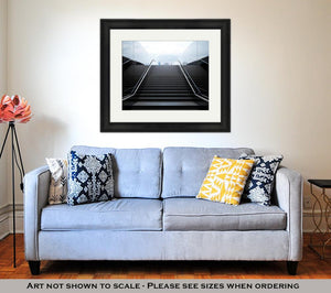 Framed Print, Empty Black Stairs With Skyline