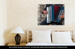 Gallery Wrapped Canvas, Street Musician Playing An Accordion