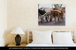 Gallery Wrapped Canvas, Longhorn Cattle Drive At The Stockyards Of Fort Worth Texas