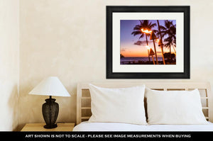 Framed Print, Hawaii Sunset With Fire Torches Hawaiian Icon Lights Burning At Dusk At Beach
