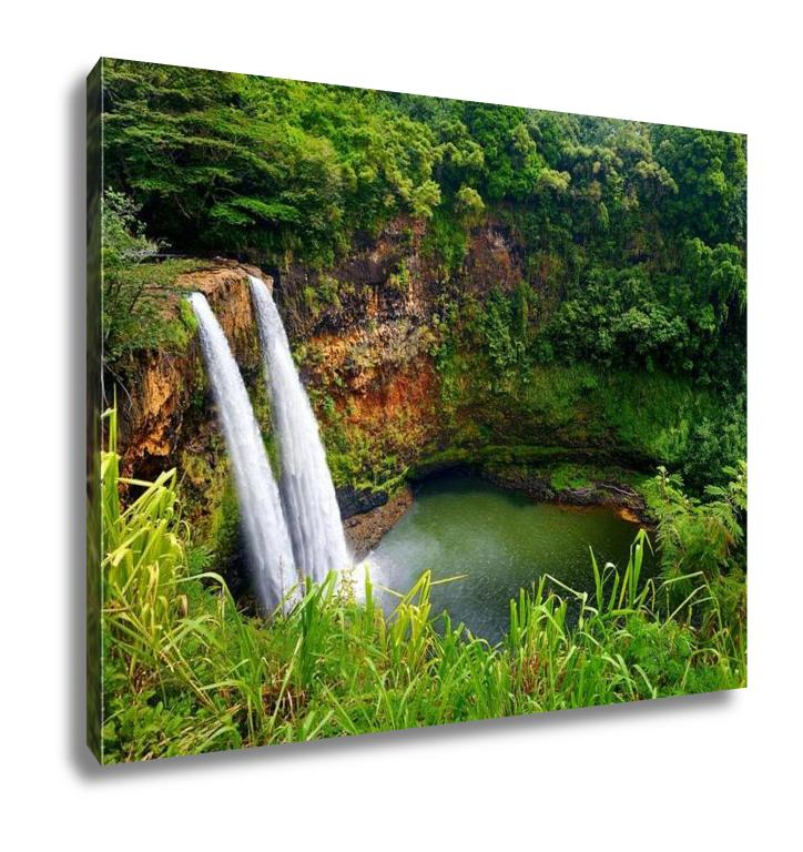 Gallery Wrapped Canvas, Majestic Twin Wailua Waterfalls On Kauai