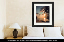 Load image into Gallery viewer, Framed Print, Beautiful Sunset At Tropical Beach With Palm Trees Koh Phangan