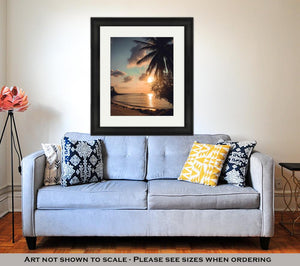 Framed Print, Beautiful Sunset At Tropical Beach With Palm Trees Koh Phangan