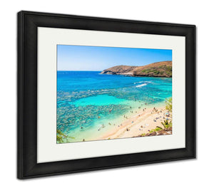 Framed Print, Snorkeling Tropical Paradise Hanauma Bay In Oahu Hawaii