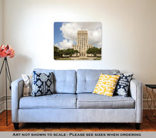 Load image into Gallery viewer, Metal Panel Print, Houston City Hall Building With Fountain And Flag Texas United States