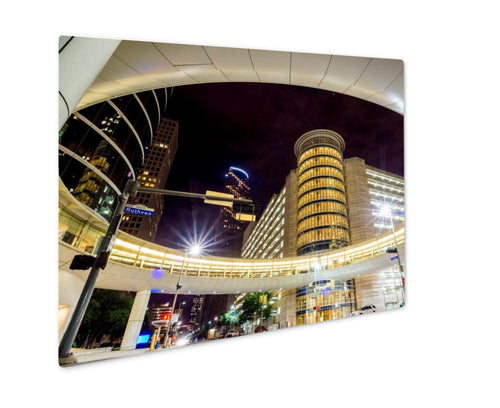 Metal Panel Print, Skyscrapers At Night In Downtown Of Houston Texas