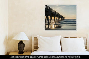 Gallery Wrapped Canvas, Ocean Pier In The Morning At Jacksonville Beach Fl