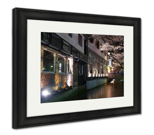 Framed Print, Beautiful Sakura Season In Kyoto City Stree View With Nice Bridg