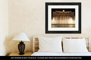 Framed Print, Bellagio Resort Water Fountain Show At Night