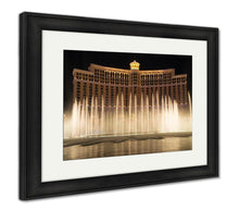 Load image into Gallery viewer, Framed Print, Bellagio Resort Water Fountain Show At Night