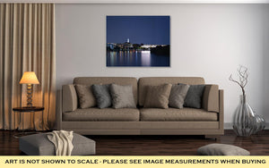Gallery Wrapped Canvas, Panoramic Photo Of Washington D C Skyline At Night