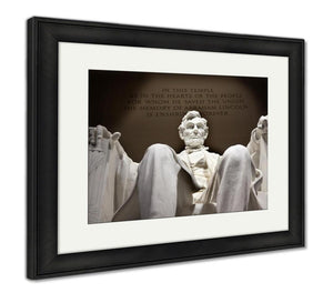 Framed Print, White Lincoln Statue Close Up Memorial Washington Dc