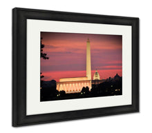 Load image into Gallery viewer, Framed Print, Washington Dc City View Including Lincoln Memorial Washington Monument And