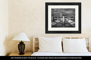 Framed Print, Sixth Street Viaduct And Los Angeles River In Black And White