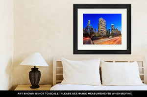 Framed Print, Downtown Los Angeles Skyline During Rush Hour