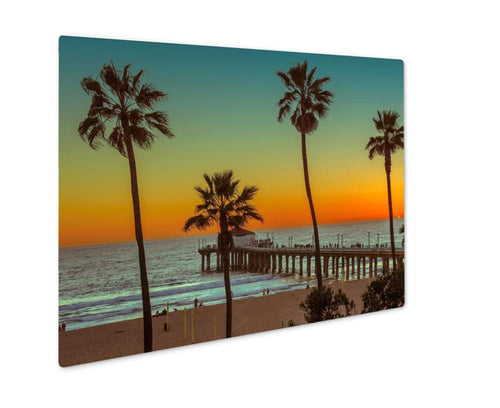 Metal Panel Print, Palm Trees On Manhattan Beach And Pier At Sunset In Los Angeles Vintage