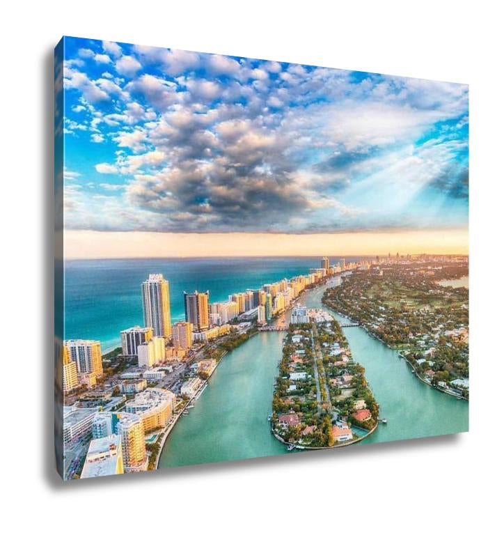 Gallery Wrapped Canvas, Aerial View Of Miami Beach At Sunset