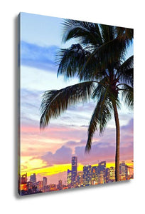 Gallery Wrapped Canvas, Miami Downtown And Port Sunset Panorama