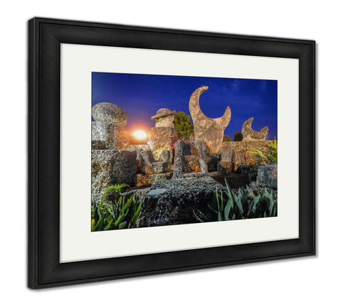 Framed Print, Coral Castle Moon Miami