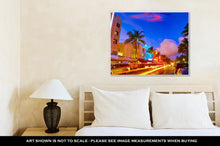 Load image into Gallery viewer, Gallery Wrapped Canvas, Miami Beach South Beach Sunset In Ocean Drive Florida Art Deco And Car Lights