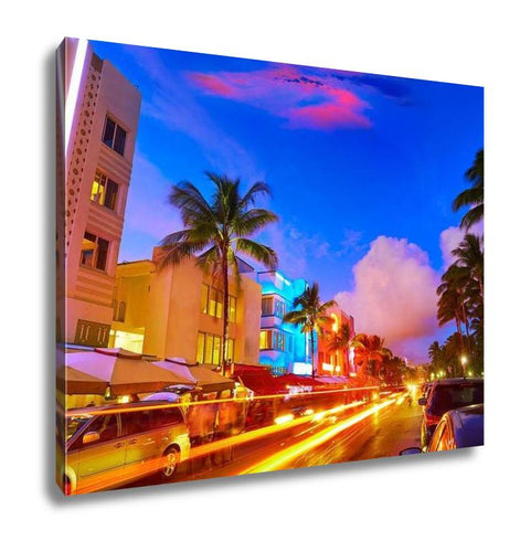 Gallery Wrapped Canvas, Miami Beach South Beach Sunset In Ocean Drive Florida Art Deco And Car Lights
