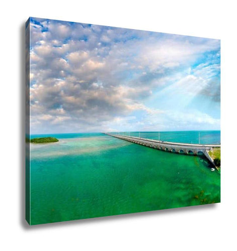 Gallery Wrapped Canvas, Florida Keys Bridge Beautiful Sunset Aerial View