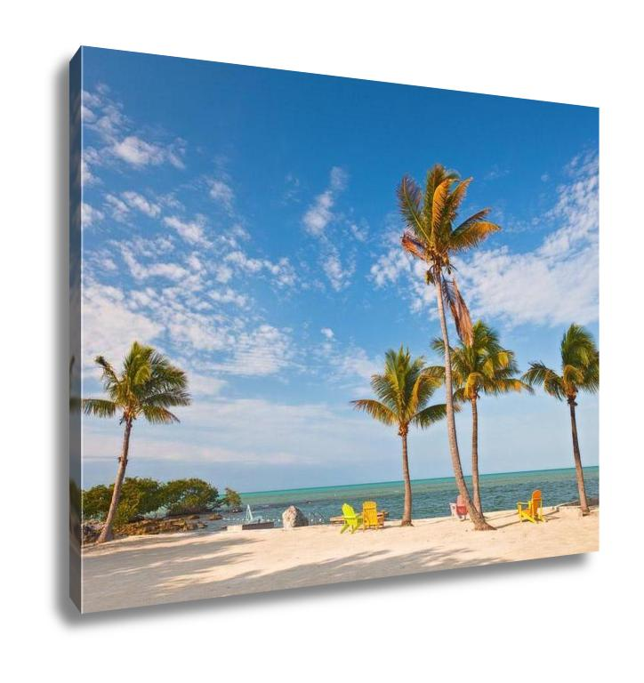 Gallery Wrapped Canvas, Summer Scene Colorful Chairs And Palm Trees At A Tropical Beach In Florida