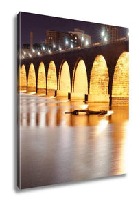 Gallery Wrapped Canvas, Stone Arch Bridge St Paul Minnesota Mississippi River Night