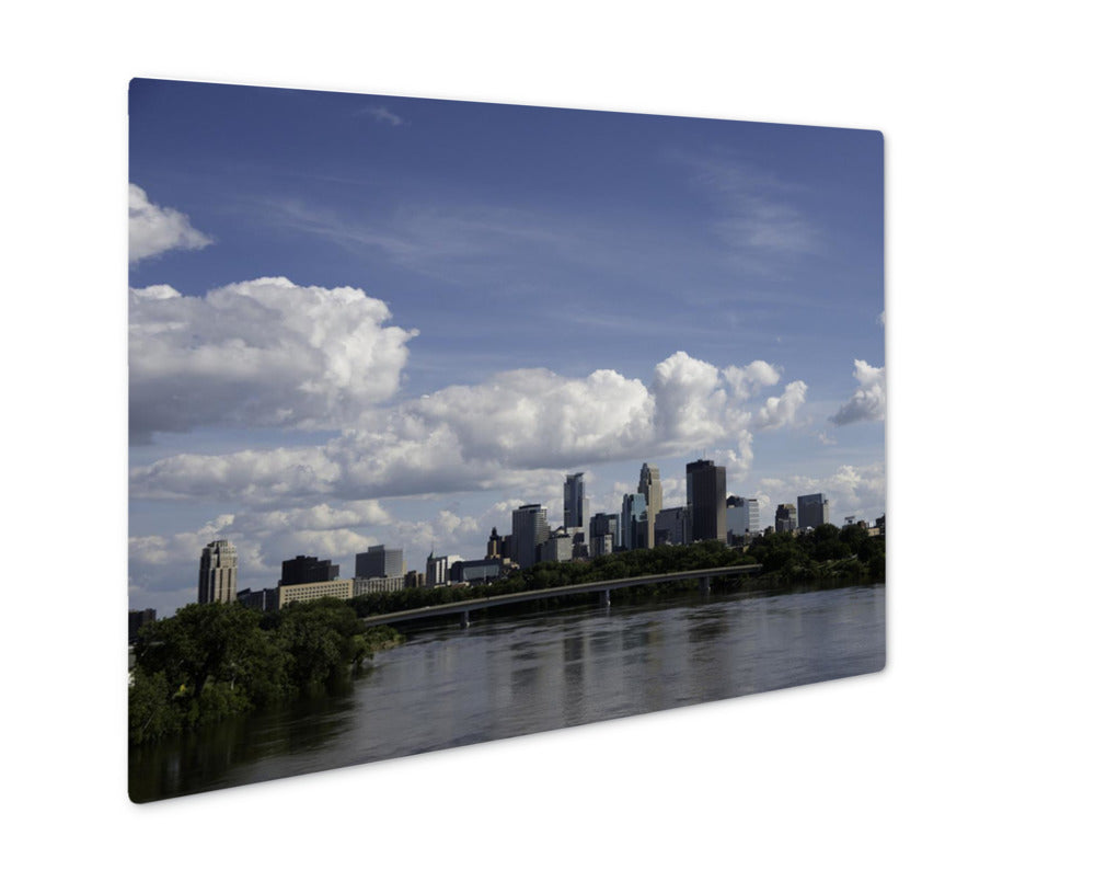 Metal Panel Print, Minneapolis Skyline In The Summer With The Mississippi River